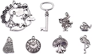 PH PandaHall 40pcs 5 Styles Antique Silver Fairy Tale Theme Tibetan Alloy Pendants Charms for DIY Necklace Bracelet Making (Cat, Mushroom, Ostrich, Rabbit, Magic Gardens)