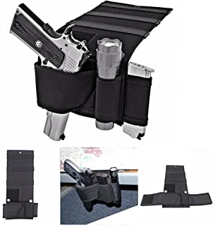 Bed Mattress Gun Holder - Car Seat Pistol Gun Holster - Adjustable Under Mattress Bedside Pistol Gun Holster Car Seat Desk Closet Gun Handgun Holster with Flashlight Loop Magazine Holder