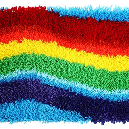 DIY Rainbow Latch Hook Tool Cushion Carpet Mat Latch Hook Rug Kits Handmade Latch Craft Kits with 19 x 14 Inch Printed Canvas Pattern for Kids Adults