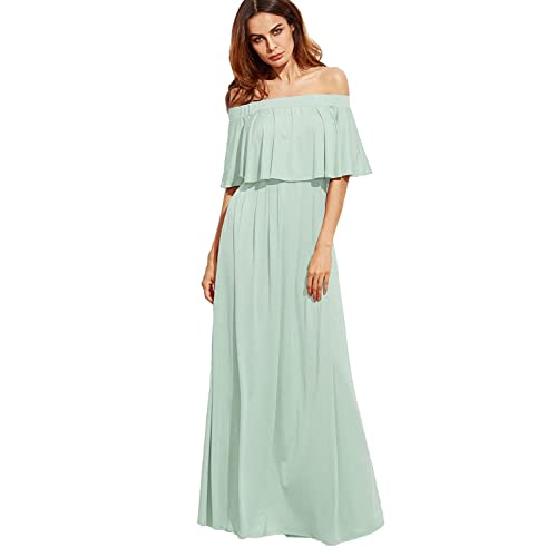 5deab689fe57 Milumia Women s Off The Shoulder Layered Ruffle Party Maxi Dress