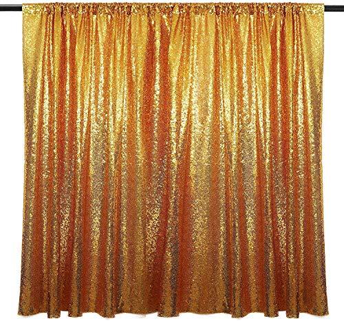 Stoff Vorhang Gold Pailletten - 195cm x140cm Goldener Glitzer Hintergrund - Vorhänge Dekoration Gold als Fotohintergrund, Party, Fotowand, Fotobox, Hochzeiten, Deko, Fotoleinwand Goldene Pailetten
