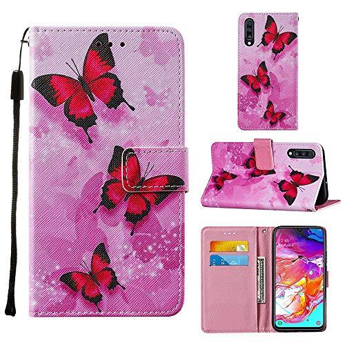 Miagon Lanyard Brieftasche Etui für Samsung Galaxy A70,Schön Rosa Schmetterling Entwurf Pu Leder Magnetverschluss Weich Innere Buchstil Schutzhülle Klapphülle mit Standfunktion