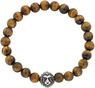 Bevilles Stainless Steel Lion Face Mens Bead Bracelet Beaded