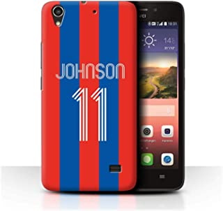 Personalized Custom Soccer Club Jersey Shirt Kit Case for Huawei Ascend G620S / Red Blue Stripes Design/Initial/Name/Text DIY Cover