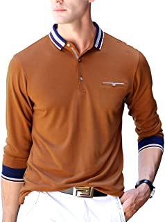 Men's Polo Shirt Casual Long Short Sleeve Classic Fashion Polo Cotton T Golf Sport Shirt