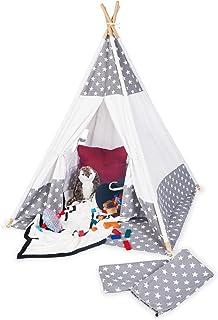 Pinolino Tipi Jakara tält av tyg och trä, med fönster, golvmatta och förvaringsväska, för barn från 3 år, tyg med stjärnmö...