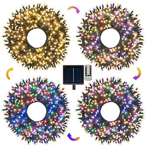 Guirlande Lumineuse Extérieur Solaire 30M,Ollny 300 LEDs Guirlande LED Solaire Multicolore et Blanc Chaud avec 11 Modes, Lumière Solaire Extérieure Intérieure IP65 pour la Fête, Noël, Mariage, Jardin