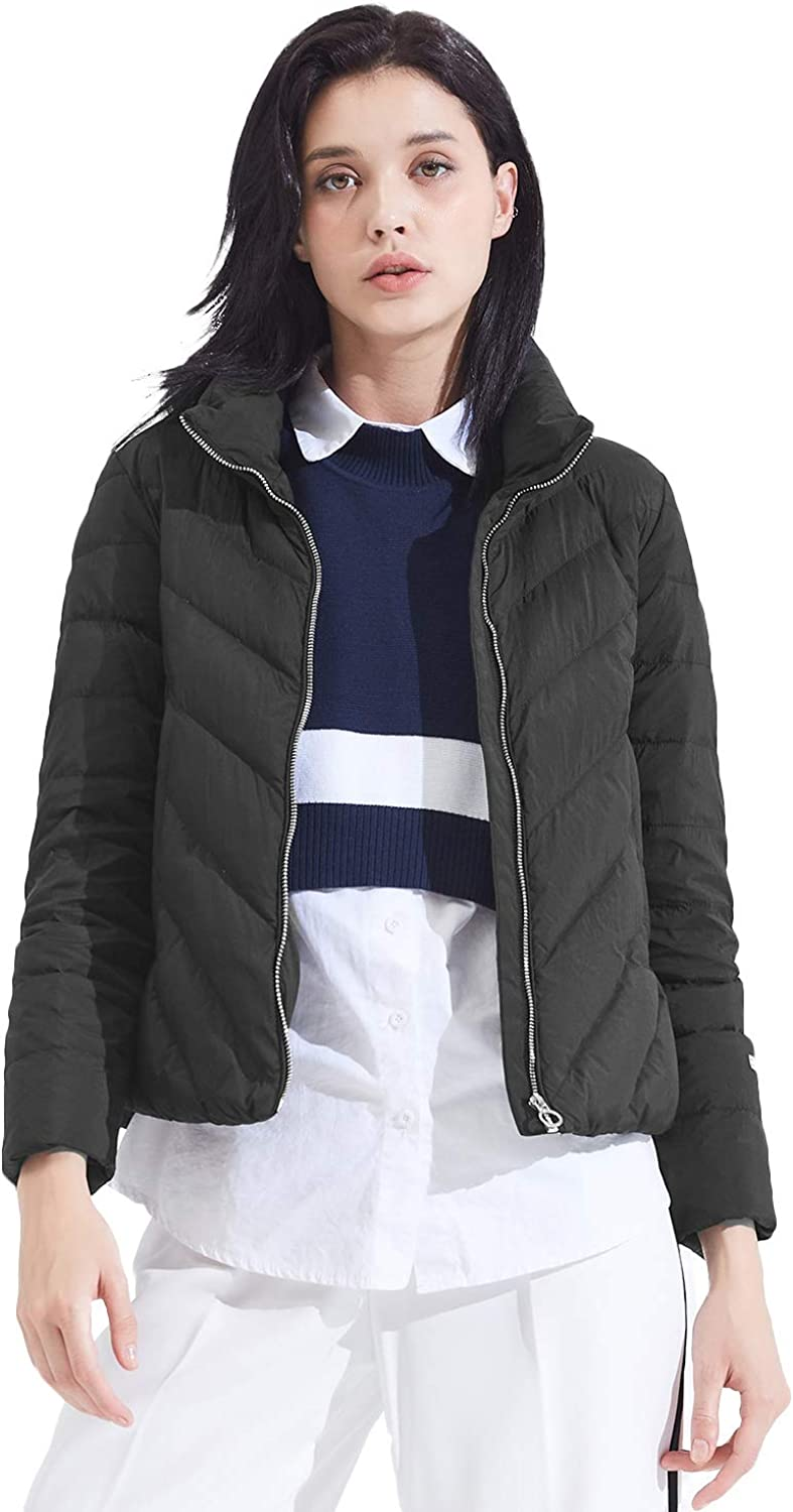 BOSIDENG Women's 2018 New Down Jacket Fashion Casual Stand Collar Down Coat Ladies Slim Short Lightweight Outerwear