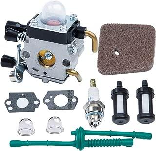 HOODELL C1Q-S186 Carburetor, for STIHL FS38 FS45 FS46 FS55 FS55R KM55 KM55R HL45 Weed Eater Brush Cutter, Premium String Hedge Trimmer Carb, with Rebuild Kit Spark Plug, Fuel Line, Air Flter