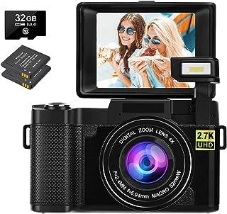 Digitalkamera 30 MP 2,7K Full HD Fotoapparat Digitalkamera mit 3-Zoll-Flip-Screen Kompaktkamera für YouTube mit 32 GB Micro-SD-Karte Digitalkamera