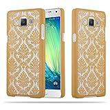 Cadorabo Samsung Galaxy A5 2015 Hardcase Hülle in Gold Blumen Paisley Henna Design Schutzhülle – Handyhülle Bumper Back Hülle Cover