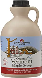 Hidden Springs Organic Vermont Maple Syrup, Grade A Dark Robust (Formerly Grade B), 32..