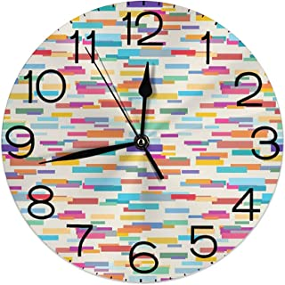 GULTMEE Round Wall Clock Home Decorative, Colorful Pattern with a Group of Overlapping Horizontal Long Rectangle Shapes for Living Room Office Bedroom