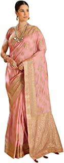 Pastel Peach Embroidered Pure Silk Indian Stylish Heavy Party wear Women Sari with Blouse 8610 19
