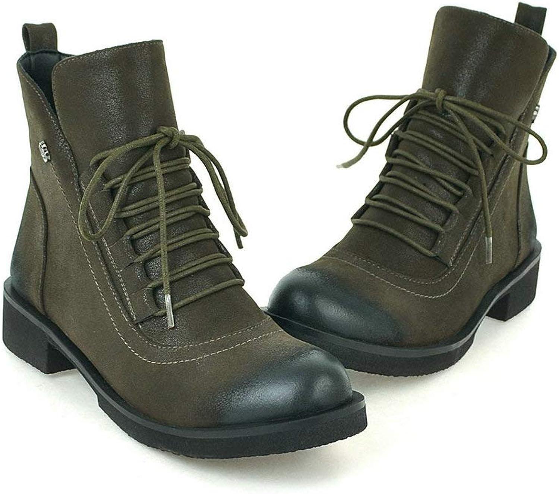 AngXinLing kvinnor Ankle stövlar mocka läder Low Block Heel Lace up Combat stövlar Round Toe Casual Oxfords skor