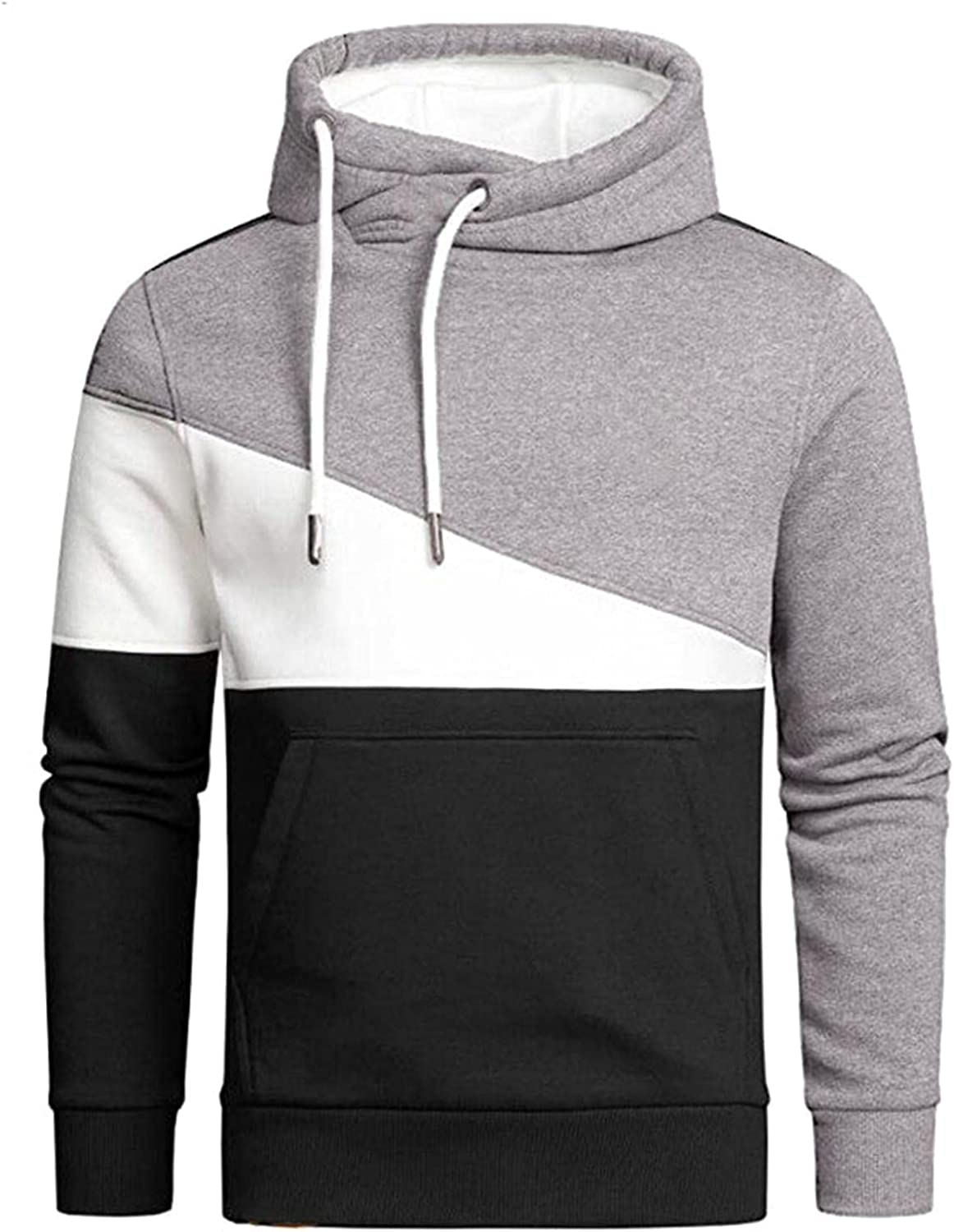 Aayomet Men's Hoodies Sweatshirts Fashion Patchwork Tops Long Sleeve Casual Athletic Hooded Pullover Shirts Blouses for Men