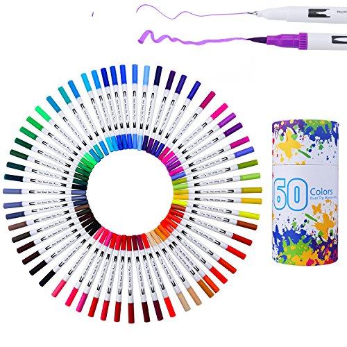 WCOCOW 60 colores marcador rotulador de doble punta, punta de pincel con rotulador de 0,4 mm Art Sketch para escribir , Perfecto para colorear para adultos bala de cartulina y tomar notas (60 Colores)