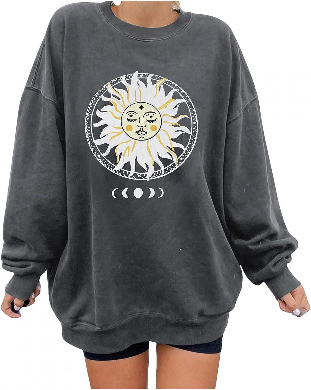 FABIURT Sweatshirt for Women,Womens Crewneck Sun Moon Vintage Graphic Oversized Long Sleeve Tee Shirts Pullover Tops
