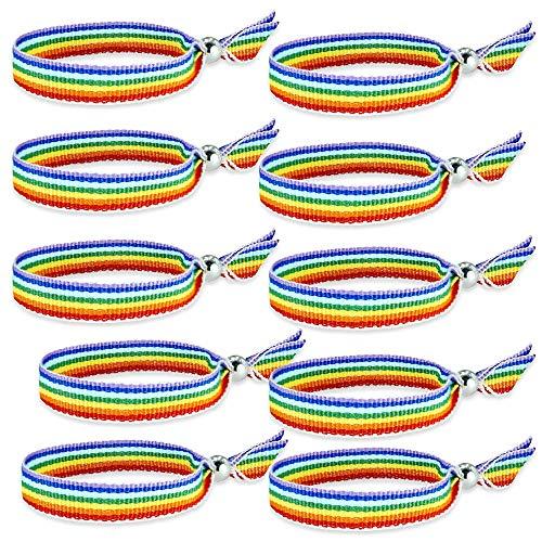 HAND-PRO Pulsera Gay Tela Pulsera Pride Pulsera LGTB Cinta Pulsera Arcoiris Pulsera Arcoiris Tela