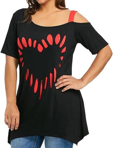 Damark(TM) Ropa Camisetas Mujer, Camisas Mujer Verano Elegantes Casual Tallas Grandes Deporte Algodon Amor impresión Camisetas Mujer Manga Corta ...