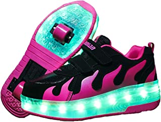 AIkuass Roller Shoes for Girls Boys Kids Dual Wheel LED Blinking Skate Sneaker Shoes