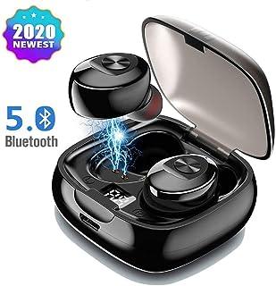 Mini Auriculares Bluetooth 5.0 Inalámbricos Deportivos TWS Estéreo In-Ear Cancelación de Ruido con Caja de Carga Portátil [Pantalla LCD] Integrado para iOS y Android