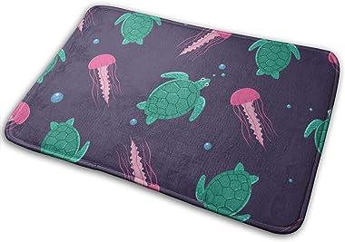 "Turtle and JellyfishDoormat Entrance Mat Floor Mat Rug Indoor/Bathroom Mats Rubber Non Slip (23.6""x15.7"",L x W)…"