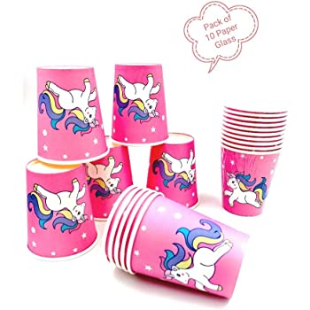 Pack of 20 Unicorn Theme Pink Paper Cups |Unicorn Theme Party Supplies