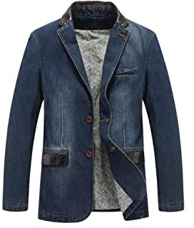 Mallimoda Men's Blazer Business Suit Casual Classic Denim Blazer Coat Jackets Two Buttons