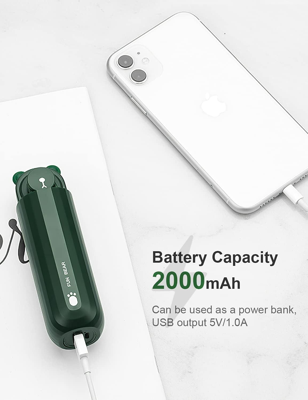 COOLREALL Portable Mini Fan, USB Fans, 2000mAh Rechargeable Battery, 2 Speed Portable Electric Fan, Quiet Fan, Fan for Office, Home, Travel, Outdoor