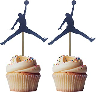 Morndew 24PCS Black Jordan Slam Dunk Basketball Silhouette Cupcake Toppers for Physical Exercise Theme Party Birthday Party Baby Shower Kids Party Wedding Party Dessert Decorations