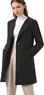 Allegra K Women's Mid-Length Collarless Minimalist Business Coat