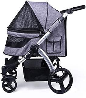 Pet stroller Four-Wheeled Pet Stroller,Medium Pet Stroller, Pet Stroller, Collapsible Pet Stroller, Small Pet Stroller, Dog Cart, Pet Supplies (Color : Gray)