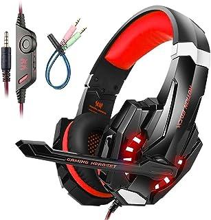 Mengshen Auriculares para Juegos para PS4 / Xbox One / Xbox One S / PC / Mac / Laptop / Celular - Auriculares para Juegos con Micrófono, Luz LED, Sonido Envolvente Bajo, Cancelación de Ruido, Orejeras Suaves, G9000 Red