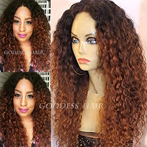 Lovestory Deep Curly Lace Front Wigs Human Hair Wigs Black Brown Mixed Color Full Lace Human Hair Wigs 130% Density(22 inch lace front)