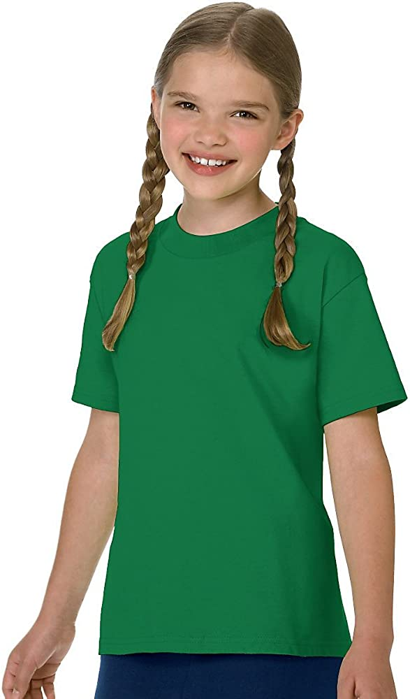 Hanes Authentic TAGLESS Boys' Cotton T-Shirt_Kelly Green_L
