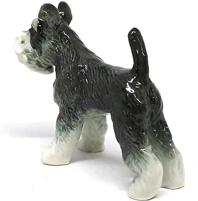 ZOOCRAFT Miniatures Collectible Ceramic Schnauzer Dog Figurine Animals Standing Gray Hand Painted