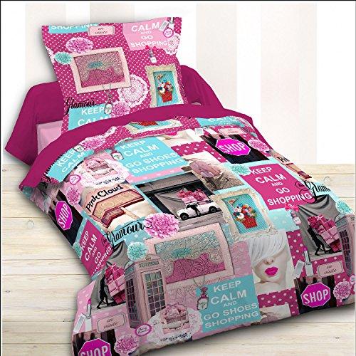 TODAY Happy Dessin Pink Shopping-Parure HC1 : Housse de Couette 140x200 + 1 Taie d'Oreiller 100% Coton, (57 Fils), Rose