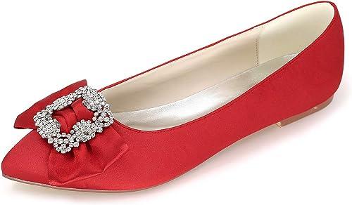 JRYYUE Chaussures de Mariage Mariée Femme Satin Strass Bout Rond Mary Jane Fond Plat Ballerines 0.6CM