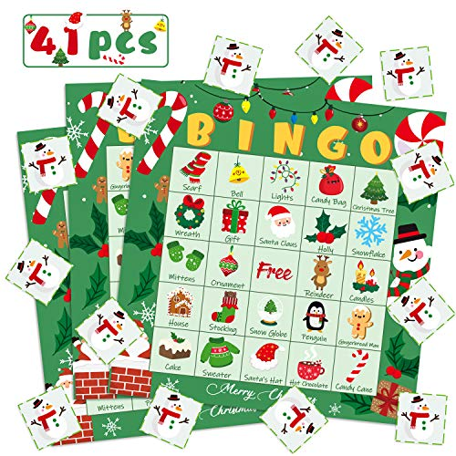WATINC 41pcs Christmas Bingo Game, Christmas Party Games with 24 Players , Christmas Bingo Cards for Kids School Classroom Party Supplies Activity, Christmas Eve Surprise, Party Favor for Family