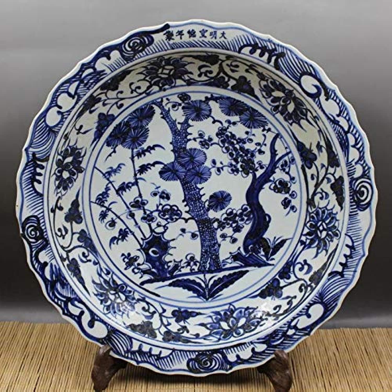 WOAIPG 磁器 磁器プレート青と白の松の花ボード手描きの工芸品コレクションと装飾