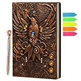A5 Vintage Embossed Leather Writing Notebook, 3D Phoenix Journal, Handmade Travel Journal for Writing, A5 Hardcover Diary 200 Pages with Golden Pen, Gift for Men & Women