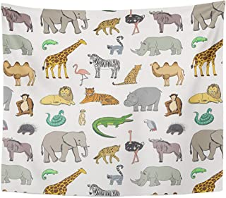 Semtomn Tapestry Drawing Leopard African Animals Pattern Cute Gorilla Lemur Africa Home Decor Wall Hanging for Living Room Bedroom Dorm 60x80 Inches