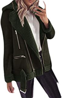 Macondoo Women Outwear Winter Oblique Zipper Faux Suede Thick Parka Jackets Coat