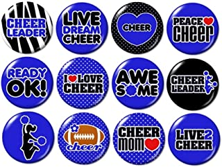 Blue Cheerleading Buttons Pins