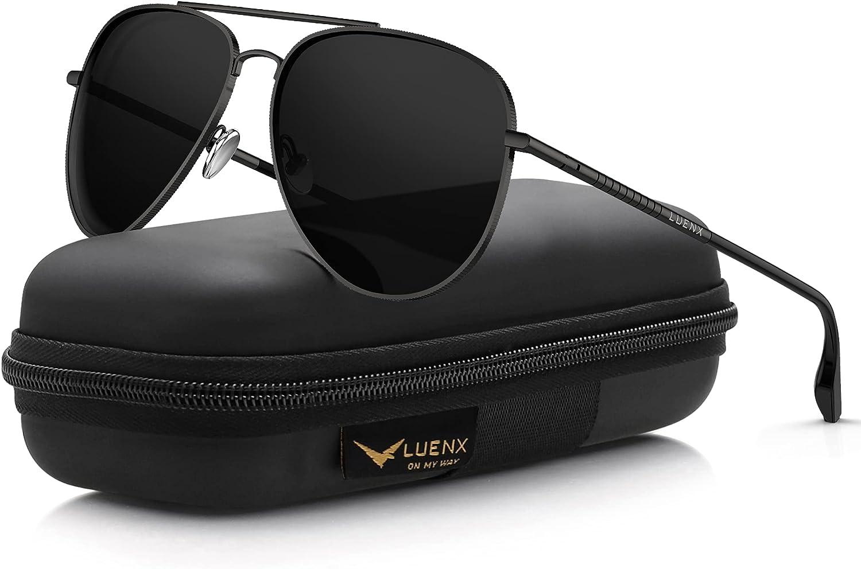 LUENX Aviator Sunglasses for Men Women Polarized - UV 400 Protection with case 60MM