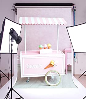 AOFOTO 6x8ft Sweets Ice Cream Cart Backdrop Little Girl Birthday Party Decorations Photography Background Kid Infant Child Toddler Artistic Portrait Photo Shoot Studio Props Video Drop Seamless Vinyl