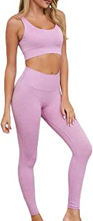 CTHH Two Piece Outfits for Women- Sports Bras High Waisted Leggings Workout Clothes for Yoga Gym