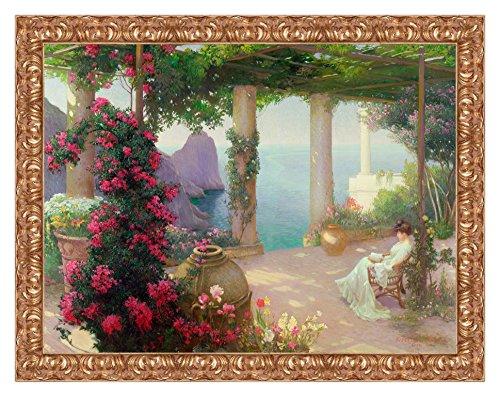 Lux Quadro Stampa su Tela Karl Maria Schuster The Terrace, Capri con Cornice in Legno Oro Classico Misura 113x88 CM