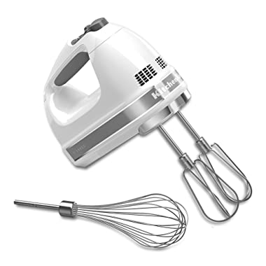 KitchenAid KHM7210WH 7-Speed Digital Hand Mixer with Turbo Beater II Accessories and Pro Whisk - White